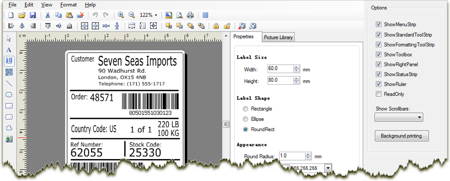 C# & VB NET WYSIWYG Barcode Label Design and Printing SDK  NET