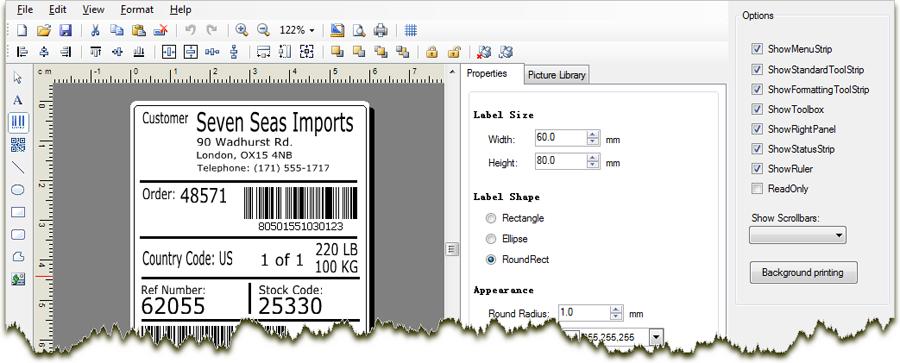 C Vb Net Wysiwyg Barcode Label Design And Printing Sdk Net